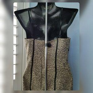 cant read Dresses - Tan Animal Cheetah Bustier Spaghetti Strap Dress